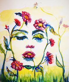 Flower face Source by Face Illusions, Optical Illusions Pictures, Illusion Pictures, Illusion Kunst, Illusion Art, Art Floral, Types D'art, Optical Illusion Paintings, Art Amour