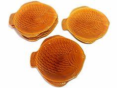 Ceramic Fish Plates, Vintage platters, Seafood Serving, Fish Shaped Plates, Ochre serving dish,Fish Service,Fish Tray, Spanish Vintage,1960s