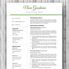 Elementary Teacher Resume Template / CV Template + Cover Letter For MS Word  | Professional And