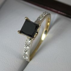 Princess Cut Black and White Diamond Engagement Ring in Yellow Gold! #ring #luxury #style