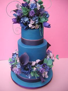 Blue Wedding cake  www.tablescapesbydesign.com https://www.facebook.com/pages/Tablescapes-By-Design/129811416695