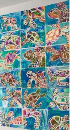 For kids, watercolor projects, art lessons for kids, art lessons elem Elementary Art Lesson Plans, Theme Nature, Sea Turtle Art, Atelier D Art, 2nd Grade Art, Art Lessons For Kids, Ecole Art, School Art Projects, Middle School Art
