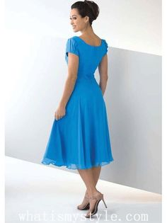 mother of the groom tea length dresses silver blue | Blue A-line Square Neckline Chiffon Tea Length Mother of Bride Dress