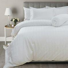 Hotelier Prestigio Sateen Check Quilt Cover - White