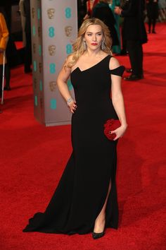 Kate Winslet in an Antonio Berardi dress and Jimmy Choo bag and shoes