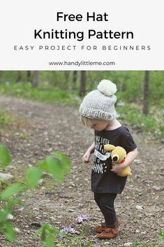 Kids beanie hat pattern adorable & easy diy handy little me Knit Hat Pattern Easy, Baby Hat Knitting Patterns Free, Baby Hat Patterns, Baby Hats Knitting, Knitting Kits, Knitting For Kids, Free Knitting, Knitted Hats Kids, Easy Knitting Projects