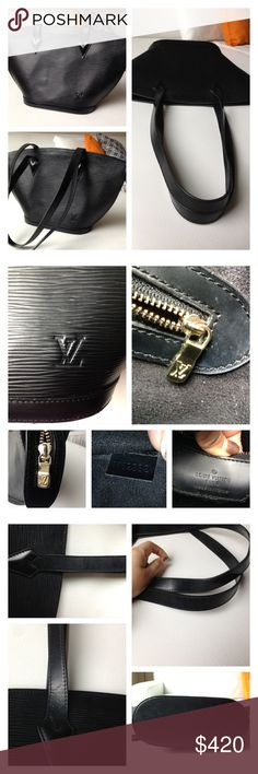 Louis Vuitton Saint Jacques Epi Shoulder Bag Selling my Authentic black Louis Vuitton Saint Jacques Epi Leather Shoulder Bag. It's in mint condition. There are some minor scuffs on the inside of the handles. As seen on the pics. Otherwise in excellent pre-owned condition. No rips, no stains, smoke free home. This bags keeps its shape very well. Main access is secured with a zipper. Inside it has 1 open pocket and alkantra lining. Comes with a dust bag. Bag measures 15x9.4x3.9, Handels drop…