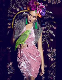 Åsa Engström Evokes Frida Kahlo in DV Mode by Fredrik Wannerstedt pinned with Bazaart
