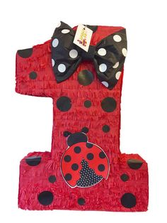 Large Number One Pinata Red & Black Polka Dots Ladybug Pinata First Birthday Pictures, Girl First Birthday, Baby Birthday, 1st Birthday Parties, Birthday Ideas, Ladybug Crafts, Ladybug Party, Ladybug 1st Birthdays, First Birthdays