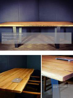 Contemporary live edge solid oak desk