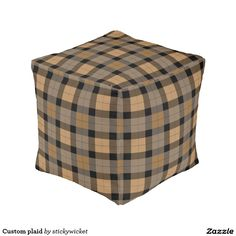 Custom plaid cube pouf