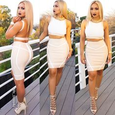 Spring Summer Fashion Outfit Crop Top Bodycon Skirt Pastel Pink Nude Line Pattern Strappy High Heel Sandals Pretty Girl Swag Stylish Fashionista MsBoss4U