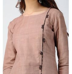 Beige Striped Handloom Cotton Kurta P. Salwar Designs, Churidar Neck Designs, Simple Kurti Designs, Kurta Designs Women, Kurti Designs Party Wear, Cotton Kurtis Designs, Latest Kurti Designs, Neck Designs For Suits, Sleeves Designs For Dresses