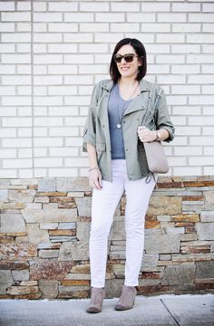 Spring Utility Jacket Outfit with Caslon Roll Sleeve Utility Jacket, Articles of Society Sarah Skinny Jeans, grey T by Alexander Wang, and taupe ankle boots. Jo-Lynne Shane. #fashion #springfashion