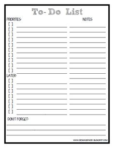 Designs by Noey  Printable To-Do List