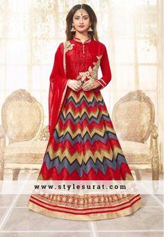 Attractive Red Color Bhagalpuri Silk Anarkali Salwar Suit