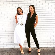 Black and White done right! Our KOOKAÏettes styled in the Arina Tee, Gypsy Skirt, Monaco Body Chain, Wrap Jumpsuit and Caribbean Wedges, available in Boutiques and Online.