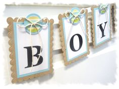 Its A Boy - Baby Shower Banner - Light Blue, Recycled Kraft, Light Yellow. $17.00, via Etsy.
