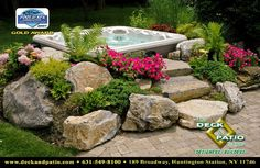 rock garden to hide above ground hot tub