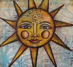 I'll call this post part 2 of my French Country art--all thanks to these papers from Graphic How could you . Sun Painting, Mandalas Painting, Mandalas Drawing, Rock Painting, Sun Moon Stars, Sun And Stars, Good Morning Sunshine, Sunday Morning, Sun Logo