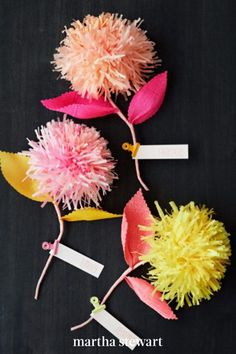 Styled after pep-squad pompoms, these are some of the simplest paper flowers to craft (from tissue paper, as well as single- and double-ply crepe). Fringing scissors make this project quick work. Try pairing pastel shades with bright leaves, and use the puffy blooms as party favors or in large arrangements. #marthastewart #crafts #diyideas #easycrafts #tutorials #hobby