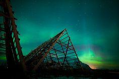 Aurora borealis just outside Henningsvær, Lofoten, Norway.