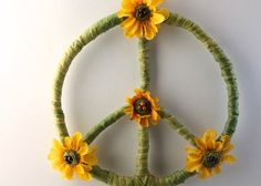 FLOWER PEACE SIGN, Hippie Home Decor, Bohemian Decor, Hipster Decor, Every Day Earth Day, College Dorm Deco, Apartment Decor, Housewarming on Etsy, $29.95