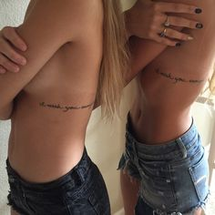 42 coolest matching BFF tattoos that prove your friendship forever . - 42 coolest matching BFF tattoos that prove your friendship is forever Small Girl Tattoos, Couple Tattoos, Mini Tattoos, Body Art Tattoos, Rib Cage Tattoos, Tatoos, Xoil Tattoos, Forearm Tattoos, I Wish You Enough