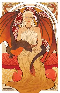 These Game of Thrones illustrations by Missy Pena are inspired by Czech Art Nouveau artist Alphonse Mucha's Four Seasons.
