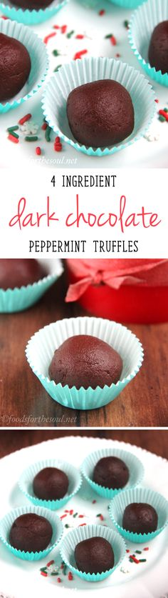 Skinny Dark Chocolate Peppermint Truffles -- 27 calories & SO easy! NO heavy cream or melted chocolate involved! Healthy Dark Chocolate, Mint Chocolate, Chocolate Recipes, Melted Chocolate, Chocolate Candies, Belgian Chocolate, Clean Eating Desserts, Easy Desserts, Delicious Desserts