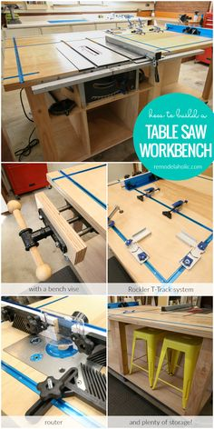 Build A Table Saw Workbench With A Bench Vise, Rockler T Track System, Router Table, And Plenty Of Storage! Free Building Plan #remodelaholic #sponsored #rockler @Rockler