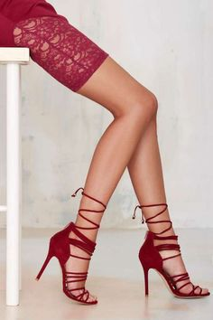 JUST PERFECT! Nasty Gal Wrap Me Up Suede Heel - Burgundy by Nasty Gal http://api.shopstyle.com/action/apiVisitRetailer?id=492147011&pid=uid1209-1151453-20