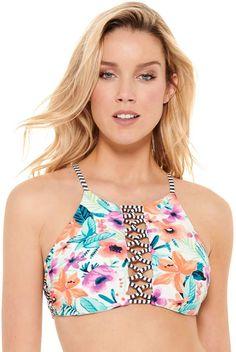 faecf85a7ff40 Juniors  Hot Water Reversible High-Neck Bikini Top