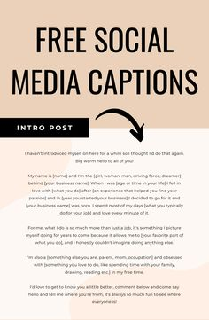 Incredible FREE social media captions for creative entrepreneurs. Done-for-you social media captions to download instantly and use right away + bonus guides on the best social media marketing strategy! Instagram Marketing Tips, Instagram Tips, Social Media Content, Social Media Tips, Social Media Calendar, Social Media Marketing Business, Social Media Engagement, Like Facebook, Small Business Organization