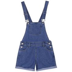 Amazon.com: Chouyatou Women's Classic Distressed Denim Bib Overalls... ($29) ❤ liked on Polyvore featuring short overalls