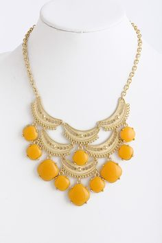 Honey Carmen Necklace Set on Emma Stine Limited Fashion Jewelry Necklaces, Fashion Earrings, Yellow Jewelry, Necklace Set, Collar Necklace, Mellow Yellow, Vintage Jewelry, Fashion Accessories, Bling