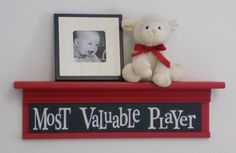 "Children's Sports Room Decor - Most Valuable Player Sign on 24"" RED Shelf NAVY Blue Nursery. $45.00, via Etsy."