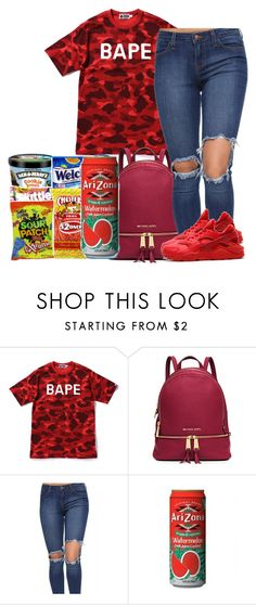 Untitled #207 by bbyblu-glitch ❤ liked on Polyvore featuring A BATHING APE, MICHAEL Michael Kors and NIKE