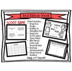 Red Ribbon Week: Pledge, Announcements & Games by Simply Imperfect Counselor Morning Announcements, Red Ribbon Week, Notes To Parents, Dress Up Day, Sorting Activities, Drug Free, School Counselor, Things To Come, Messages
