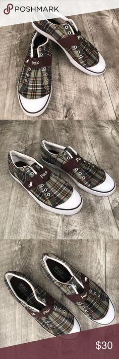 Polo Ralph Lauren Men's Plaid Shoes Size 12 Polo Ralph Lauren Shoes / Sneakers Green Plaid Canvas Lace Up  Men's Size: 12D Excellent Condition.  Barely Worn. (Laces Not Included) Polo by Ralph Lauren Shoes Sneakers