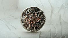 Silver Button Ring Chunky Button Ring Adjustable Ring by mscenna, $5.00