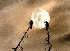 Two crows against the moon
