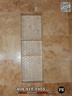 "Travertine Shower Niche Two- 16"" and one 8"" shelf"