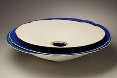 Large flat triple-tiered sculpture, 2009 Porcelain with blue glazes 6 x 20 in. Inv# 6455 SOLD Image