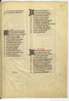 Titre : Roman de la rose Date d'édition : 1351-1400 Type : manuscrit  Français 803 2r 罫線の参考