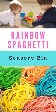 Sensory Bins, Sensory Activities, Infant Activities, Sensory Play, Activities For Kids, Pre School, Toddlers, Spaghetti, Rainbow