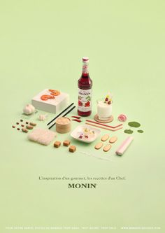Project Love: Les Sirops de Monin - - Les Sirops de Monin is the degree project from Clemence Dubois . Love the exploration of art direction and photography using a strict colo. Web Design, Food Design, Print Design, Branding, Creative Jobs, Still Life Photography, Food Photography, Happy Photography, Product Photography