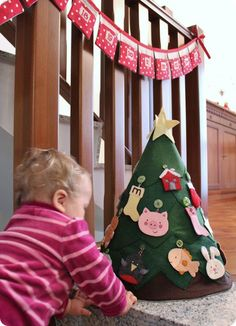 Christmas Tree Advent Calendar   Love this idea. I just might need to figure out a hot glue version!