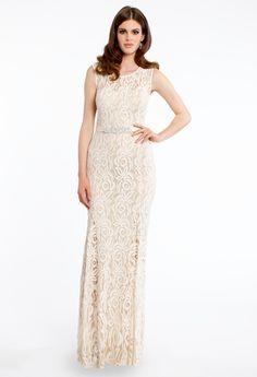 Sleeveless Lace Dress with Rhinestone Belt from Camille La Vie $189.99