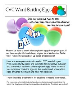 Free Make some wonderfully easy Literacy Center Activities for Spring. All you need are some old plastic Easter Eggs and my printouts. Students will lov...